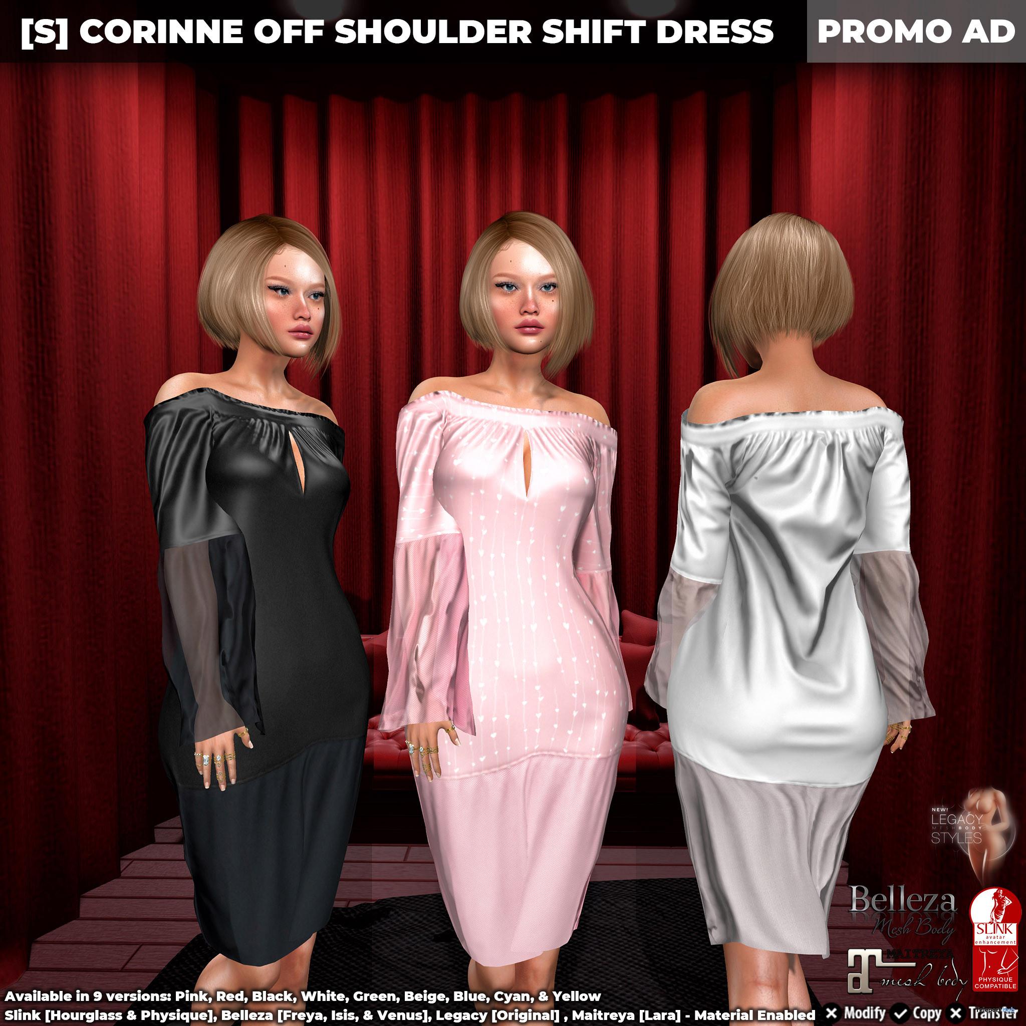 New Release: [S] Corinne Off Shoulder Shift Dress by [satus Inc] - Teleport Hub - teleporthub.com