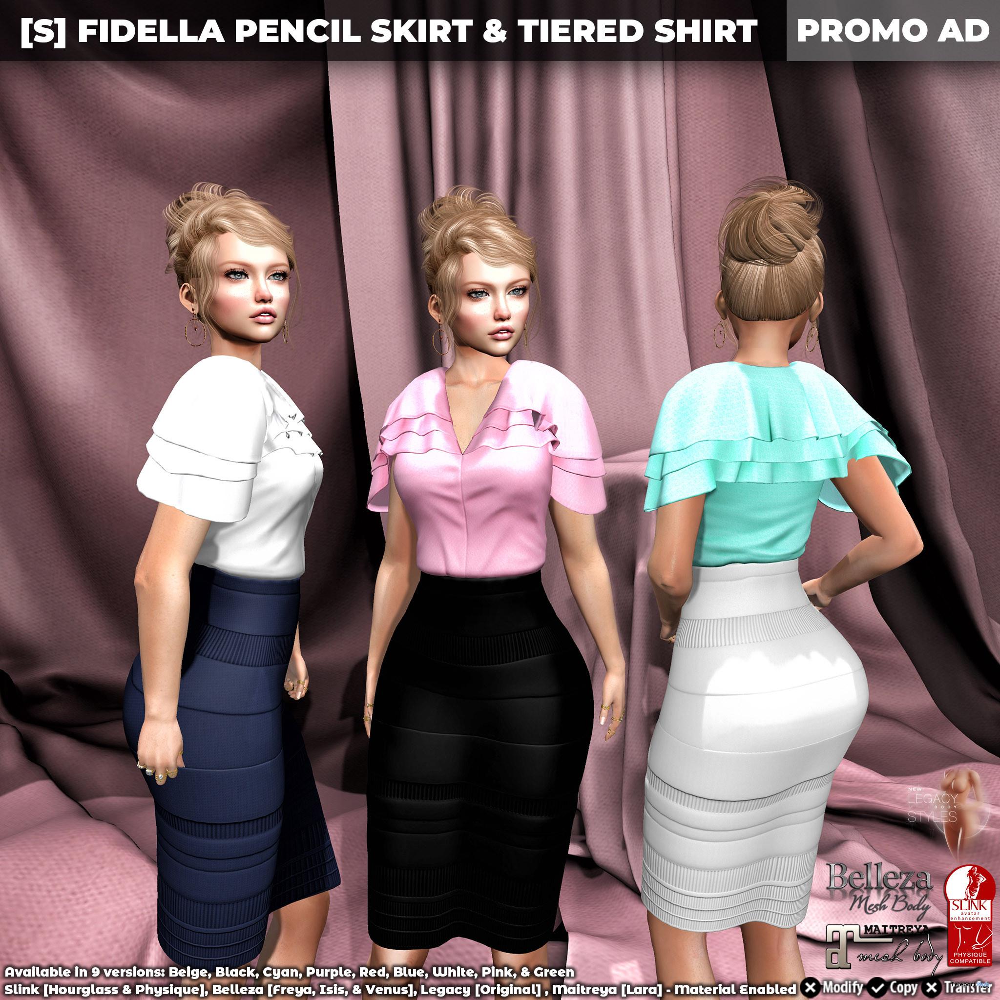 New Release: [S] Fidella Pencil Skirt & Tiered Shirt by [satus Inc] - Teleport Hub - teleporthub.com