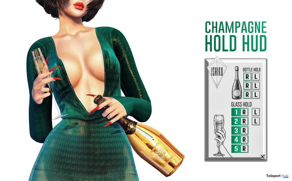 Champagne Hold Bento Animation HUD September 2021 Group Gift by ISHIKU - Teleport Hub - teleporthub.com