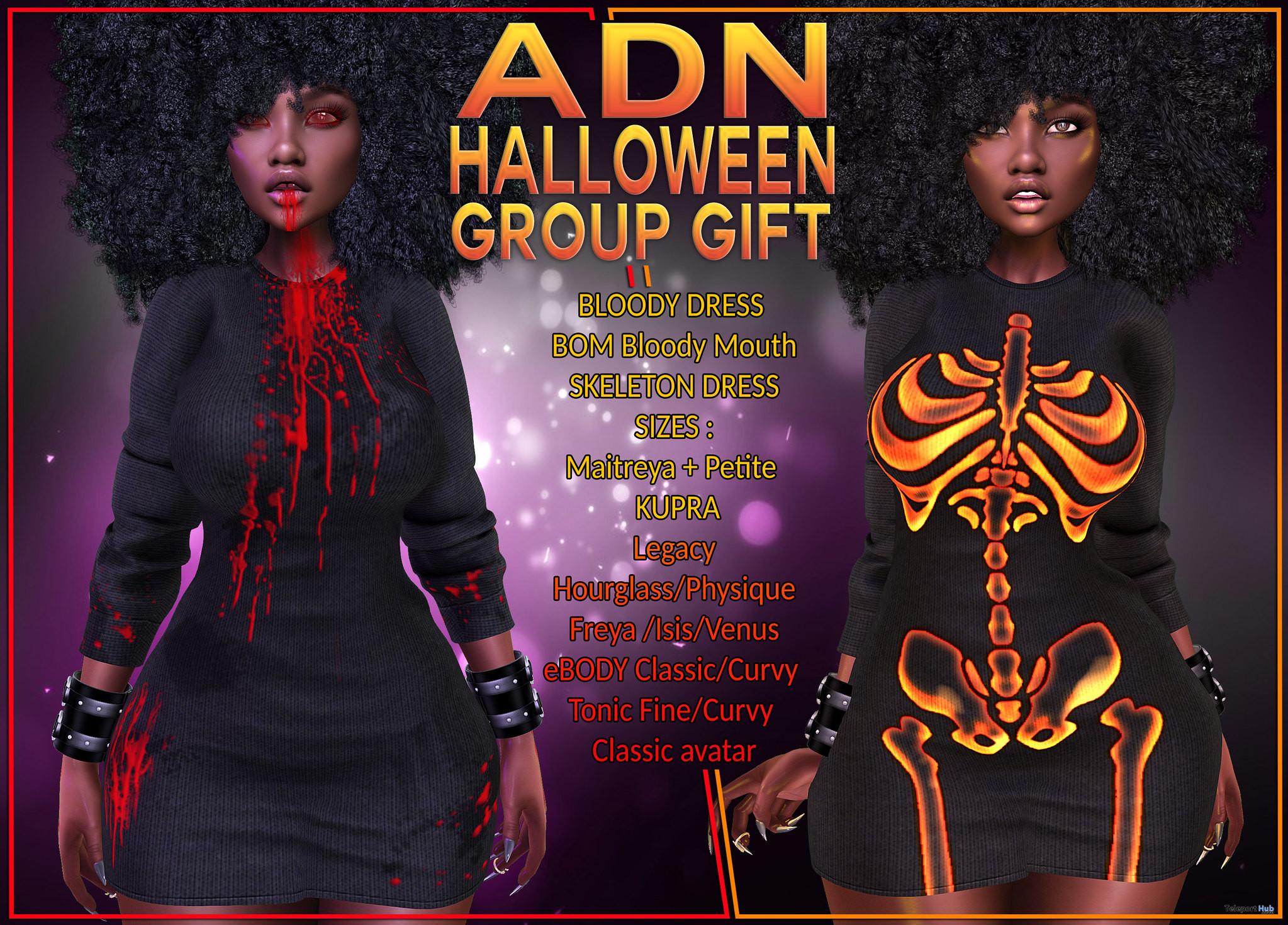 Skeleton Dress, Bloody Dress, & Tattoo October 2021 Group Gift by ADN Designs - Teleport Hub - teleporthub.com