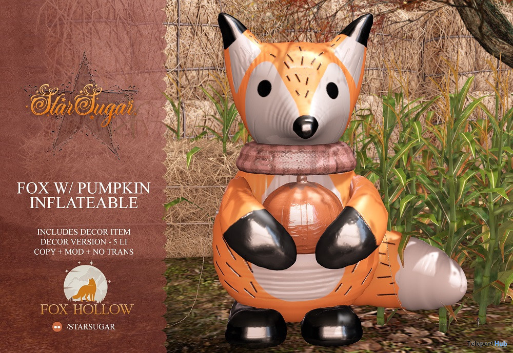 Inflatable Fox With Pumpkin October 2021 Gift by Star Sugar - Teleport Hub - teleporthub.com