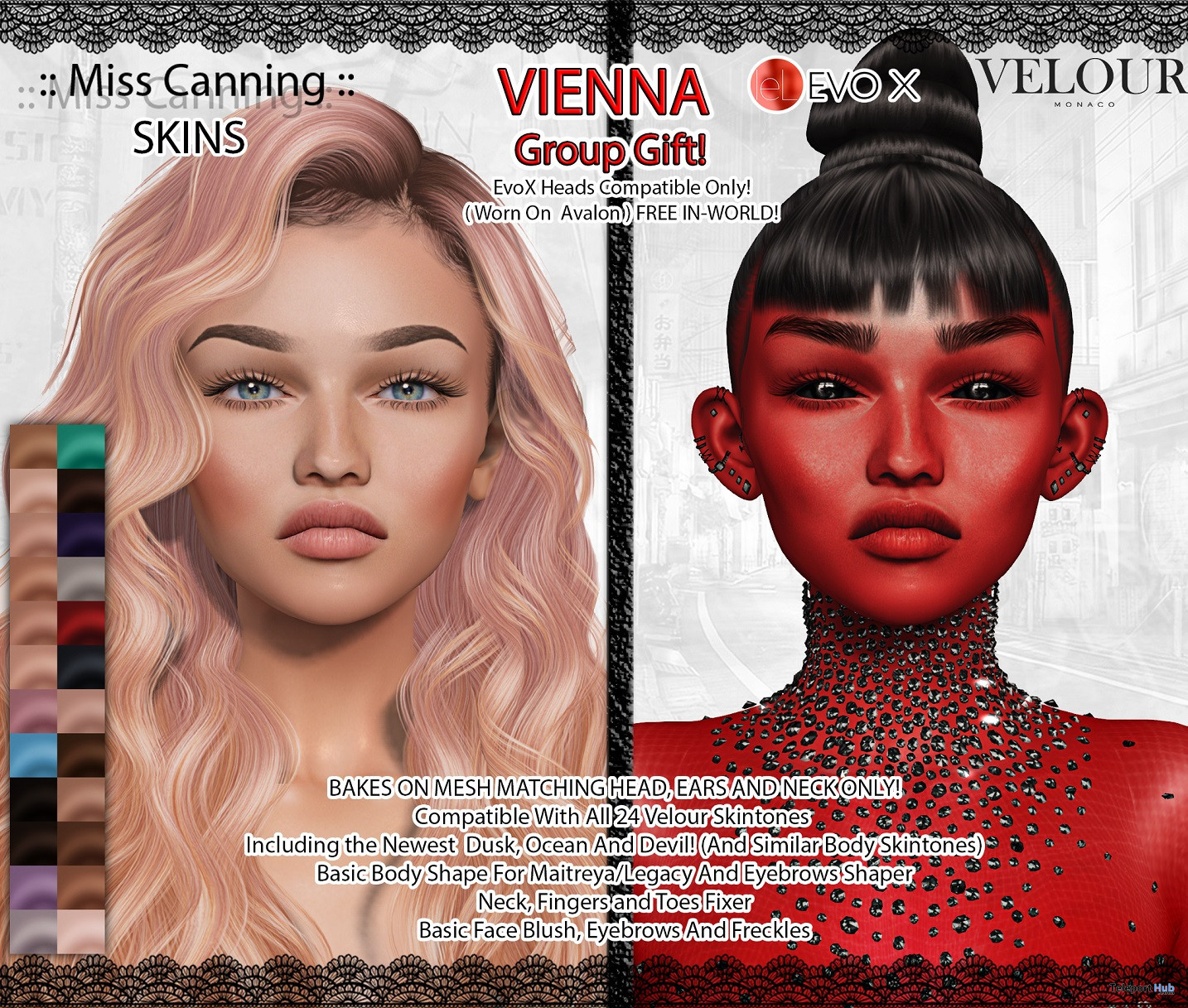 Vienna Skin For Lelutka EvoX October 2021 Group Gift by Miss Canning - Teleport Hub - teleporthub.com